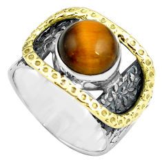 5.62cts natural brown tiger's eye 925 silver gold solitaire ring size 7 p87953