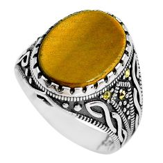 10.26cts natural brown tiger's eye 925 silver mens ring jewelry size 10.5 c1017