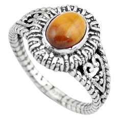 2.01cts natural brown tiger's eye 925 silver solitaire ring size 8 p55768