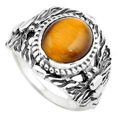4.21cts natural brown tiger's eye 925 silver solitaire ring size 7 p55791