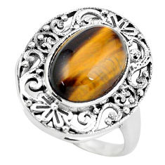 7.07cts natural brown tiger's eye 925 silver solitaire ring size 8.5 p55891