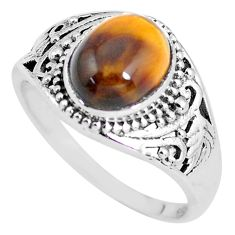 4.40cts natural brown tiger's eye 925 silver solitaire ring size 9 p56056