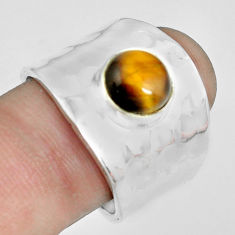 3.29cts natural brown tiger's eye 925 silver solitaire ring size 8.5 p70112