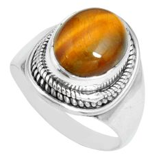 5.18cts natural brown tiger's eye 925 silver solitaire ring size 8 p70261