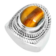 5.30cts natural brown tiger's eye 925 silver solitaire ring size 7 p70262