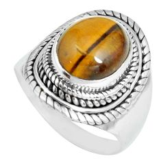 5.01cts natural brown tiger's eye 925 silver solitaire ring size 9 p70265