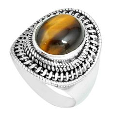 5.18cts natural brown tiger's eye 925 silver solitaire ring size 8 p70267