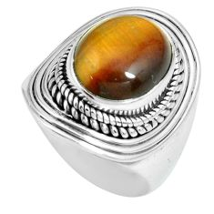 5.43cts natural brown tiger's eye 925 silver solitaire ring size 7 p70269
