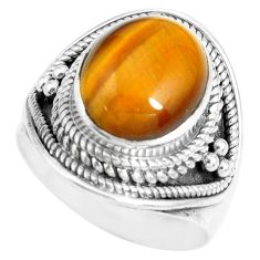 5.01cts natural brown tiger's eye 925 silver solitaire ring size 7 p70272