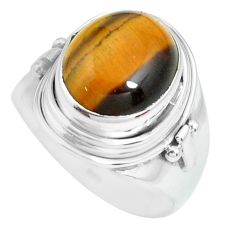 5.52cts natural brown tiger's eye 925 silver solitaire ring size 8 p70273