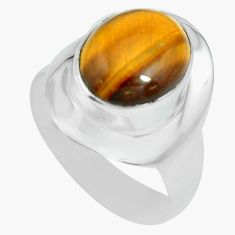 5.36cts natural brown tiger's eye 925 silver solitaire ring size 8.5 p70275