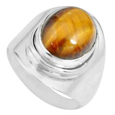 5.52cts natural brown tiger's eye 925 silver solitaire ring size 6.5 p70276