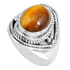 5.01cts natural brown tiger's eye 925 silver solitaire ring size 8.5 p70279