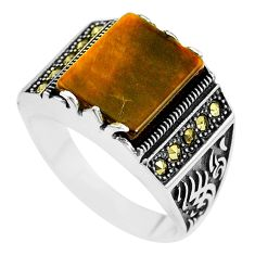 5.12cts natural brown tiger's eye marcasite 925 silver mens ring size 10 c1016