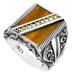 11.63cts natural brown tiger's eye marcasite 925 silver mens ring size 9.5 c1028