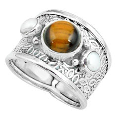 5.02cts natural brown tiger's eye pearl 925 sterling silver ring size 8 p68488