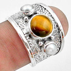 5.01cts natural brown tiger's eye pearl 925 sterling silver ring size 6.5 p74830