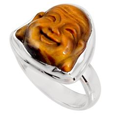 7.33cts natural brown tiger's eye silver buddha meditation ring size 6 p92978