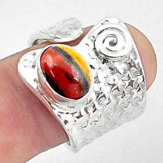 3.76cts natural brown tiger's hawks eye 925 silver adjustable ring size 7 p57052