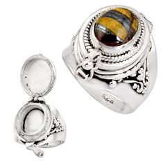 4.06cts natural brown tiger's hawks eye 925 silver poison box ring size 7 p92878