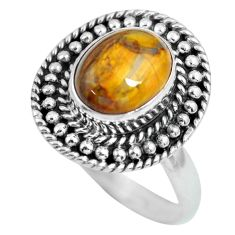 4.31cts natural brown tiger's hawks eye 925 silver solitaire ring size 9 p63286