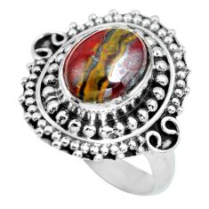 4.38cts natural brown tiger's hawks eye 925 silver solitaire ring size 7 p63293