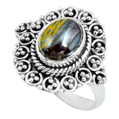 4.47cts natural brown tiger's hawks eye 925 silver solitaire ring size 8 p63294