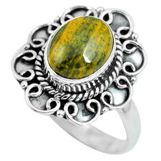 3.93cts natural brown tiger's hawks eye 925 silver solitaire ring size 9 p63296