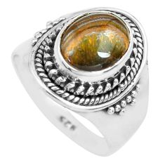 4.22cts natural brown tiger's hawks eye 925 silver solitaire ring size 7 p71741