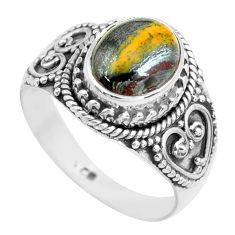 4.22cts natural brown tiger's hawks eye 925 silver solitaire ring size 8 p71745