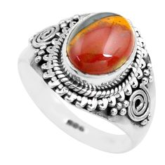 4.51cts natural brown tiger's hawks eye 925 silver solitaire ring size 8 p71746