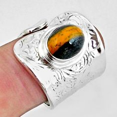 4.21cts natural brown tiger's hawks eye 925 sterling silver ring size 7 p57086