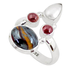 7.66cts natural brown tiger's hawks eye garnet 925 silver ring size 8.5 p52653