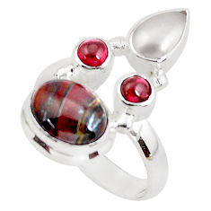 7.66cts natural brown tiger's hawks eye garnet 925 silver ring size 8 p52654