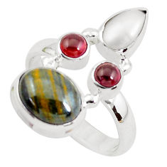 8.14cts natural brown tiger's hawks eye red garnet 925 silver ring size 9 p52655