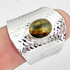 3.01cts natural brown tiger's hawks eye silver adjustable ring size 7.5 p57147