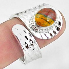 4.07cts natural brown tiger's hawks eye silver adjustable ring size 9.5 p57197