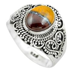 4.40cts natural brown tiger's hawks eye silver solitaire ring size 8.5 p61524