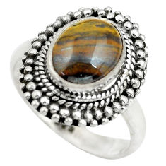 4.52cts natural brown tiger's hawks eye silver solitaire ring size 6.5 p61534