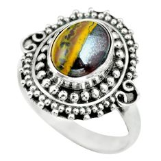 4.52cts natural brown tiger's hawks eye silver solitaire ring size 8.5 p63281