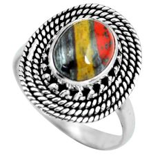 4.51cts natural brown tiger's hawks eye silver solitaire ring size 8.5 p63287