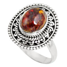 4.74cts natural brown tiger's hawks eye silver solitaire ring size 8.5 p63290