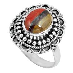 4.51cts natural brown tiger's hawks eye silver solitaire ring size 8.5 p63292