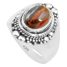 4.38cts natural brown tiger's hawks eye silver solitaire ring size 8.5 p71742