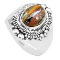 4.21cts natural brown tiger's hawks eye silver solitaire ring size 8.5 p71743