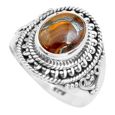 4.22cts natural brown tiger's hawks eye silver solitaire ring size 6.5 p71747