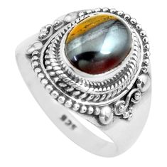 4.38cts natural brown tiger's hawks eye silver solitaire ring size 8.5 p71748