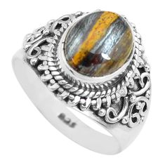 4.02cts natural brown tiger's hawks eye silver solitaire ring size 6.5 p71749