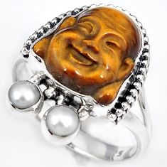 NATURAL BROWN TIGERS EYE 925 SILVER LAUGHING BUDDHA RING JEWELRY SIZE 9.5 H23626