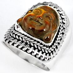 NATURAL BROWN TIGERS EYE 925 SILVER LAUGHING BUDDHA RING JEWELRY SIZE 6.5 H23637